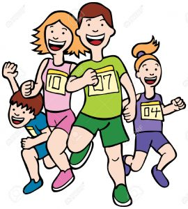 5163255-Family-Run-Art-Cartoon-of-a-family-running-together-in-a-racing--Stock-Photo