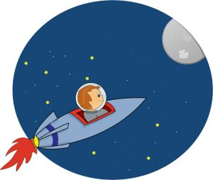 Boy in Rocketship Clipart
